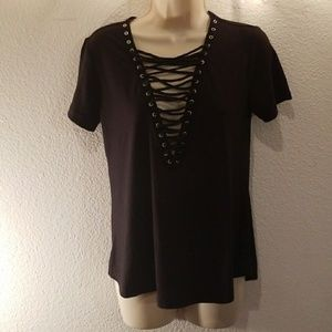 Women's lace up fashion T-shirt  blouse
